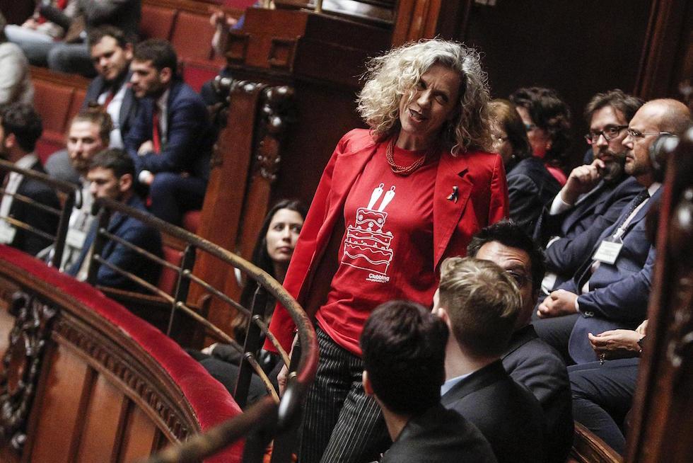 Monica Cirinnà con una maglietta con disegnata una torta nuziale con due sposi durante il voto finale della proposta di legge sulle unioni civili(ANSA/GIUSEPPE LAMI)
